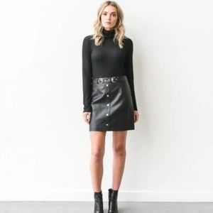 BRUNETTE THE LABEL Faux Leather Black Skirt in S/M
